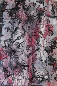 """Touch of Pink"" - 12 1/2"" x 19"" - Acrylic paint, permanent ink on teslin paper"